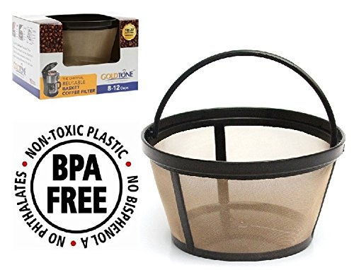 GoldTone Brand Reusable 8-12 Cup Basket Filter fits Black Decker Coffee Machines and Brewers Replaces your BlackDecker Reusable Coffee Filter and Permanent Black Decker Coffee Basket Filter