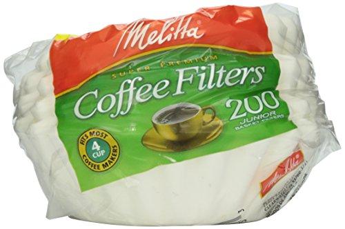 Melitta White Jr Basket Filter 4-6 Cup 200 ct