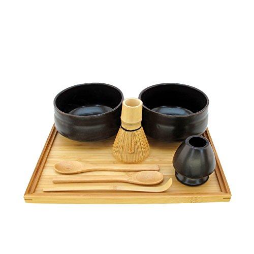BambooMN Brand - Matcha Bowl Set Includes 2 Bowls Tea Whisk Rest Large Tray 2 Teaspoons and Chasaku - 1 Set - Black