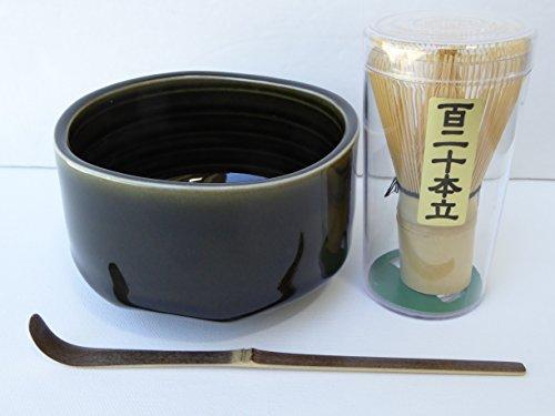 YokohamaUSA 475D Matcha Bowl Set Ceramic ORIBE Design Black Bamboo Scoop 120 Whisk
