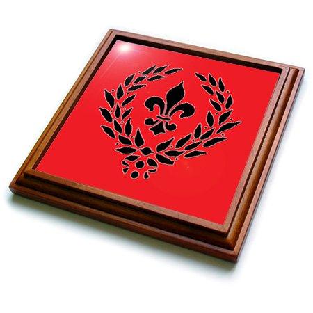 3dRose trv_220678_1 Fleur De Lis French Decor Red and Black Trivet with Ceramic Tile 8 by 8 Brown
