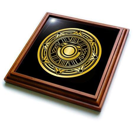 3dRose trv_241463_1 Letter O Art Deco Geometric Monogram In Faux Gold black Trivet with Ceramic Tile 8 x 8 Natural