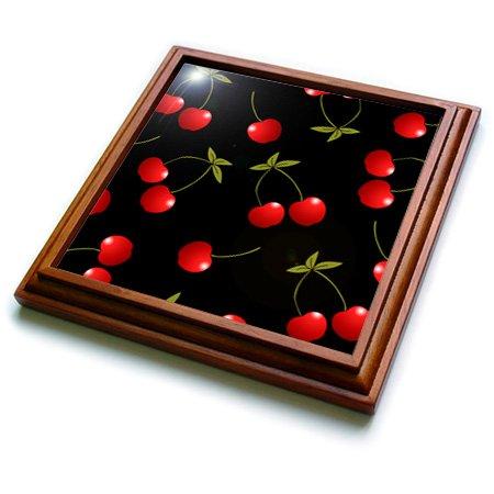 3dRose trv_24730_1 Cherry Print Juicy Red Cherries on Black Trivet with Ceramic Tile 8 by 8 Brown