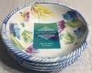 Artistic Accents Dishwasher Artistic Accents Safe Indoor - Outdoor Melamine Set of 4 Cereal Salad Bowls 7 12 inch PARROTS