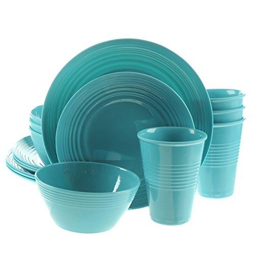 Handi-Ware 16-Piece Melamine Dinnerware Set Service for 4 Break Chip Resistant IndoorOutdoor Wave Rim Design by Unity Turquoise