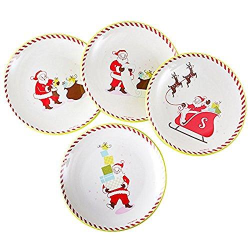 Retro Santa Claus Plates Tinsel Town Melamine Set of 4 85 Inch Round