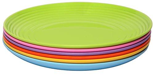 Melange 6-Piece  Melamine Dinner Plate Set Solids Collection   Shatter-Proof and Chip-Resistant Melamine Dinner Plates  Color Multicolor