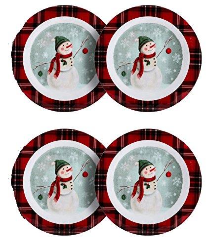 Nantucket Home Snowman Red Plaid Round Melamine Dinner Plates Set of 4