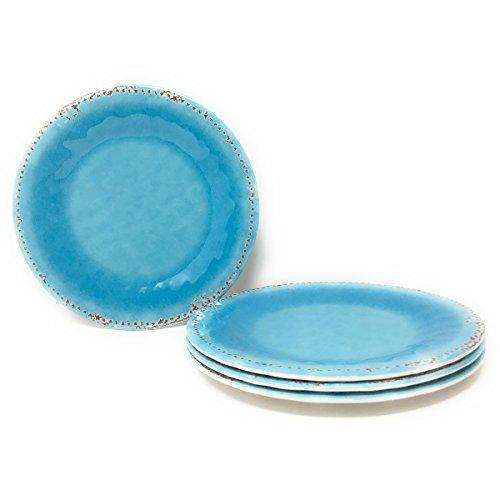 Rustic Crackle Melamine Dinner Plates Set of 4 Dinner Plate 105 in Turquoise