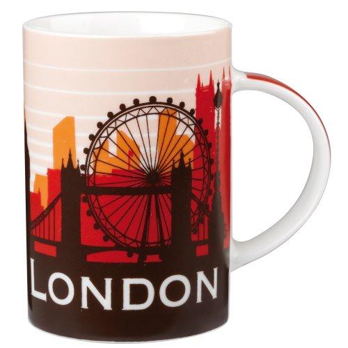British London Silhouette Sights Art Large Fine China Mug Westminster Eye St Pauls Gherkin Big Ben Etc