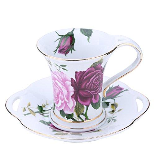 Continental rose bone China coffee mug teacup-A
