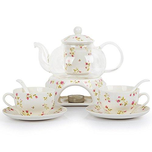 European Pastoral Floral Rose Bone China Ceramic 6 Pieces Tea Set