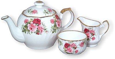Summertime Rose Bone China English Teapot Cream Sugar Set