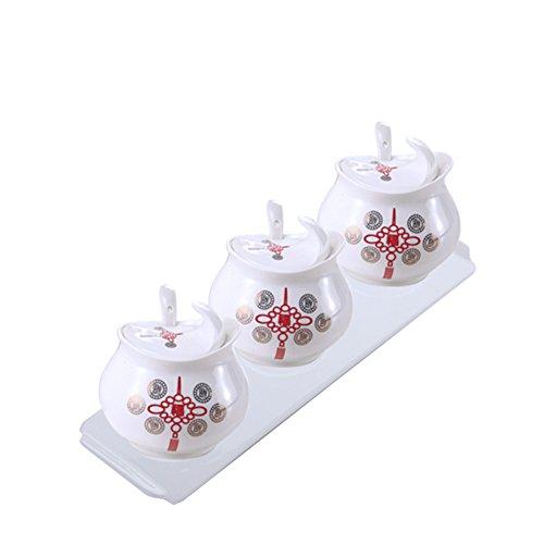 ceramic Spice jarGolden rose bone China seasoning boxcovered spice jars-boxsalt shaker set of threekitchen supplies-B