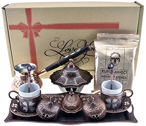 BOSPHORUS 16 Pieces Turkish Greek Arabic Coffee Making Serving Gift Set with Copper Pot Coffee Maker Cups Saucers Tray Sugar Bowl 66 Oz Coffee