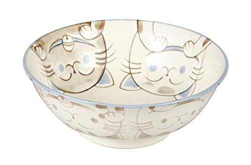 Mino ware Ramen Noodle Donburi Bowl Smiling Cats Gloss finish Blue made in Japan