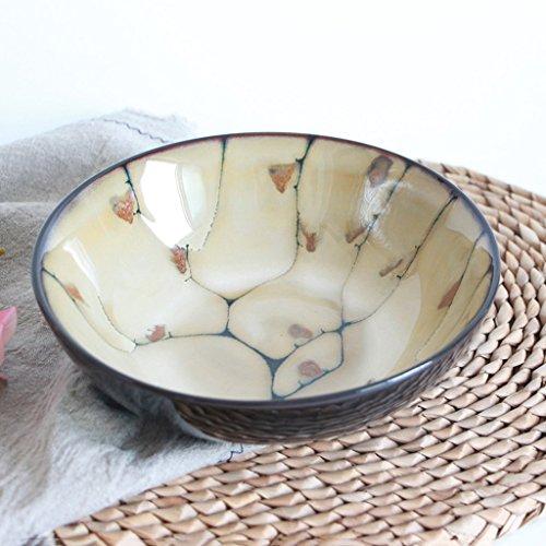 Retro Creative Handmade Ceramic Bowl Home Breakfast Tableware Large Capacity Ramen Soup Bowl Fruit Salad Dessert Plate Diameter 20cm