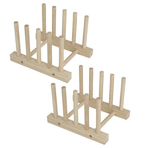 Set of 2 Modern Homes Multi-purpose Wooden Plate Pot Lid Organizer Rack