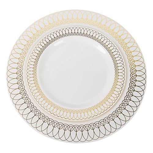 Exquisite 40-Pack Gold Ovals Design Plastic Plates 20-dinner 20-dessert Set Premium Heavyweight Plastic Wedding Plates Looks Like China