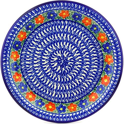 Polish Pottery 110D58 Boleslawiec Stoneware Pottery Plate 11-Inch Blue