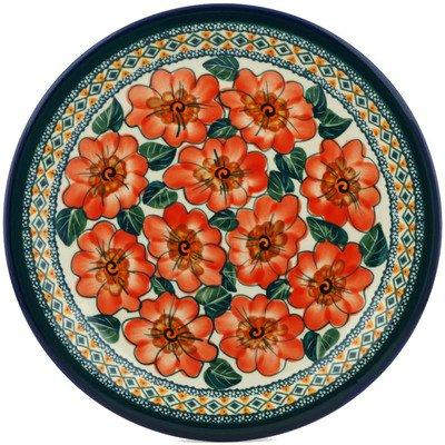 Polish Pottery Dinner Plate 11-inch Peach Poppies UNIKAT