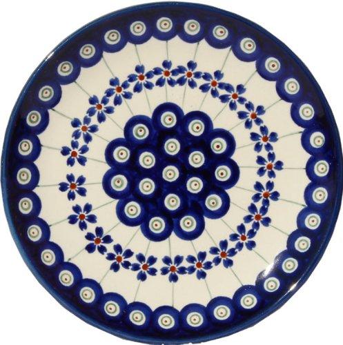 Polish Pottery Plate 65 Inch From Zaklady Ceramiczne Boleslawiec Gu-818-166a Floral Peacock Traditional Pattern 65 Inch Diameter