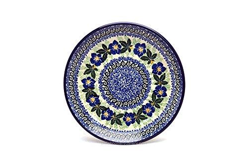 Polish Pottery Plate - SaladDessert 7 34 - Blue Pansy