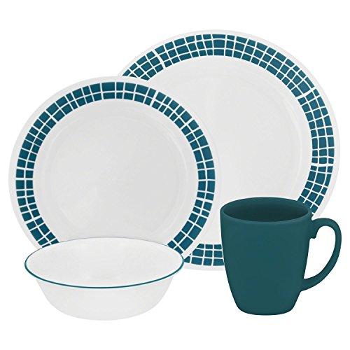 Corelle Livingware 16-Piece Dinnerware Set Aqua Tiles Service for 4