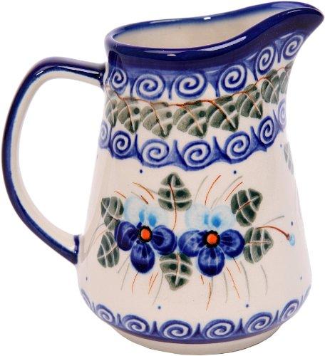 Polish Pottery Ceramika Boleslawiec  0205162 Pitcher Jacek 1 1 Cup Royal Blue Patterns with Blue Pansy Flower Motif