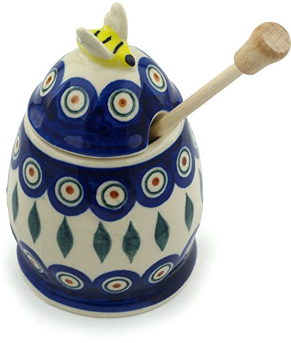 Polish Pottery Honey Jar with Dipper - Peacock