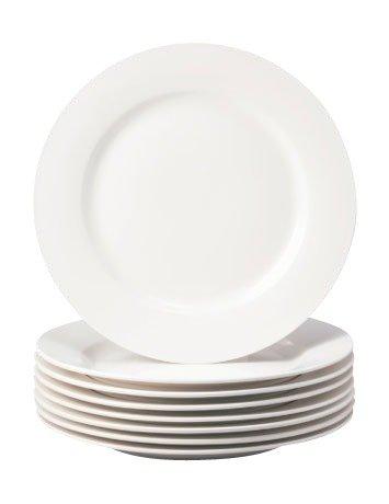 Thompson Pottery 8 Piece Basic Dinner Plates White