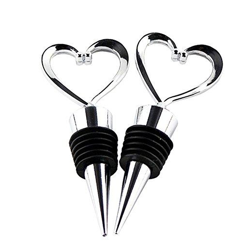 2 Pcs Stainless Steel Love Design Heart Shape Beverage Wine Bottle Stoppers