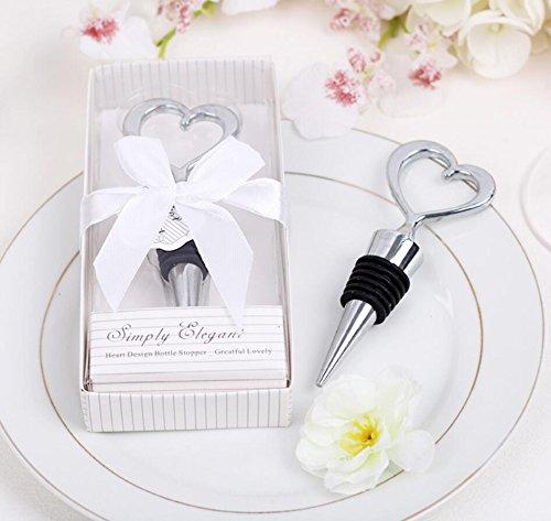 96pcs Simply Elegant Chrome Heart Wine Bottle Stopper in Box For Wedding Favor
