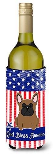 Carolines Treasures BB3008LITERK Patriotic USA French Bulldog Brown Wine Bottle Beverge Insulator Hugger  Wine Bottle multicolor