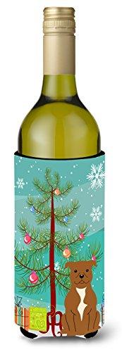 Carolines Treasures BB4172LITERK Merry Christmas Tree Staffordshire Bull Terrier Brown Wine Bottle Beverage Insulator Hugger 750ml Multicolor