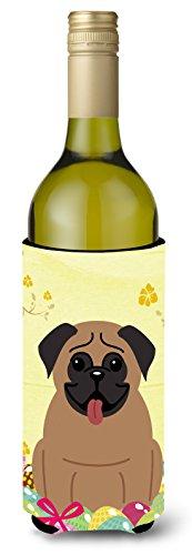 Carolines Treasures BB6005LITERK Easter Eggs Pug Brown Wine Bottle Beverage Insulator Hugger 750ml Multicolor