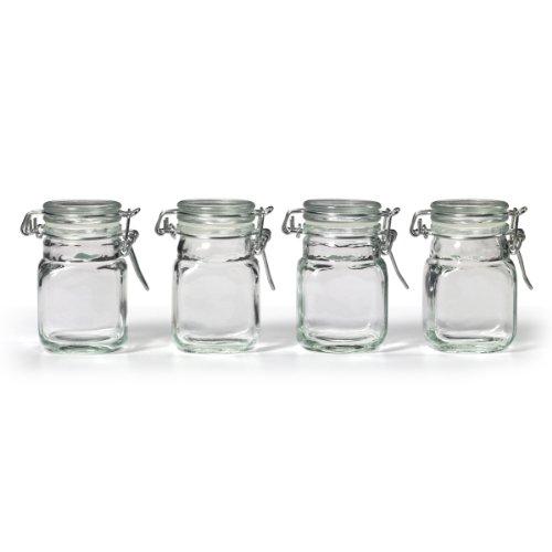 Kamenstein Square Glass Jar with Hinge Glass Lid 4 Piece Set