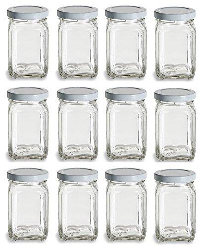 Nakpunar 12 pcs 375 oz Mini Square Glass Jars with White Plastisol Lids