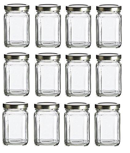 Nakpunar 12 pcs 6 oz Square Glass Jars with Gold Lids for Jam Honey Wedding Favors Shower Favors Baby Foods DIY Magnetic Spice Jars