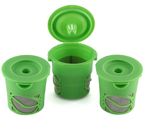 Greenco Reusable K-cups Coffee Filter Refillable K-cup for Keurig K-cup Brewers - Pack of 3