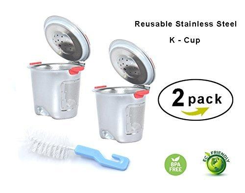 Nicelucky Stainless Steel Reusable K CupsRefillable Coffee Filter for Keuring 20 and 10 models K200K250K300K350K450K460K500K550K560B60 Silver 2 Silver