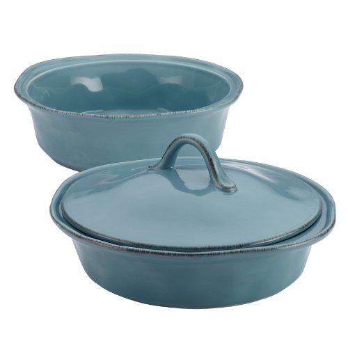 Rachael Ray Cucina Stoneware 3-piece Round Casserole & Lid Set, Agave Blue