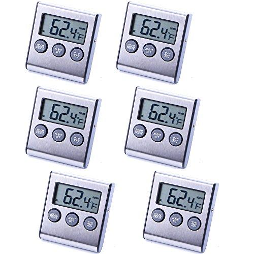 6 Pack Digital Refrigerator Freezer ThermometerHighLow Temperature Alarms Settings