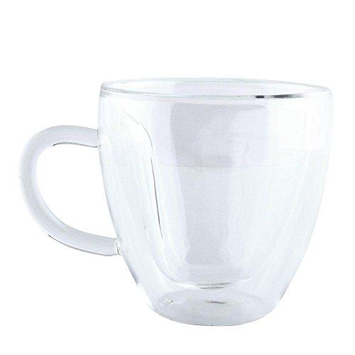 BleuMoo 240ml Heart Shaped Double Wall Layer Clear Glass Tea Cup Lover Coffee Mug