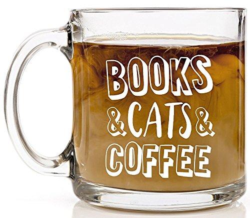 Books Cats Coffee Glass Coffee Mug Funny Novelty Clear Glass Tea Cup 13 OZ Inspirational Christmas Birthday Holiday Gifts