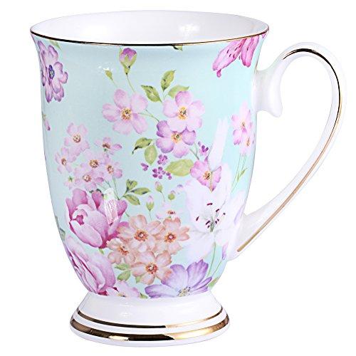 AWHOME Royal Fine Bone China Coffee Mug Assorted colors Tea Cup 11 oz 1 Green