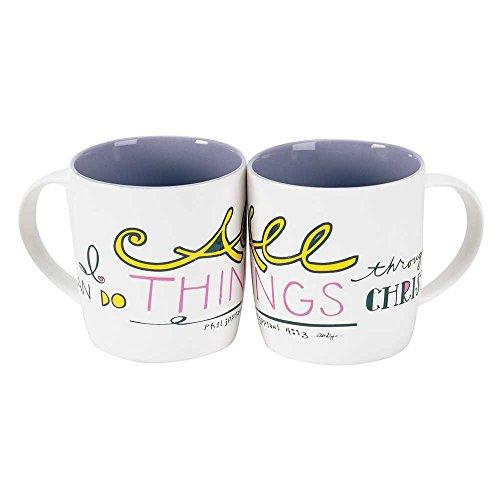 Can Do All Things Through Christ Purple 125 Ounce Bone China Coffee Mugs Set of 2