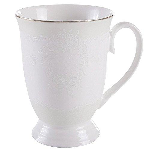 GuangYang Mugs sets 11 oz Embossed Flower Gold Rim Porcelain Bone China Coffee Mug