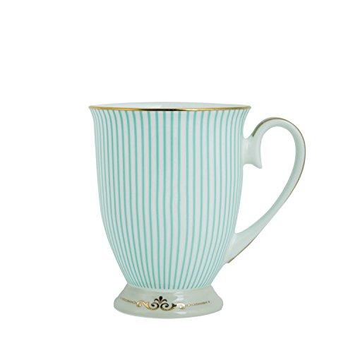Lebather Royal Vintage Porcelain Bone China Coffee Mug  Tea Cup Gift Ideas Royal Blue Stripe