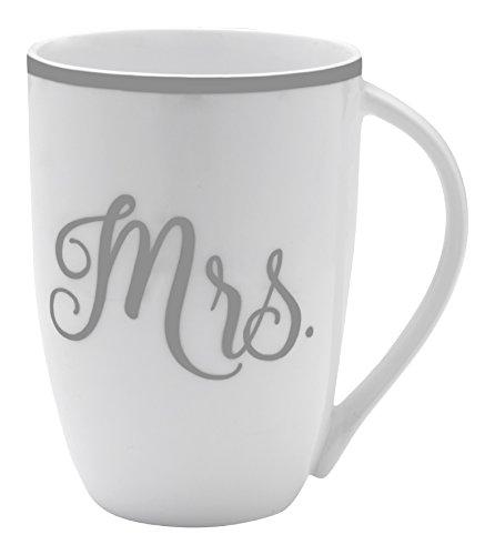 Mikasa Bone China Coffee Mug 16-Ounce Mrs WhiteGrayPlatinum